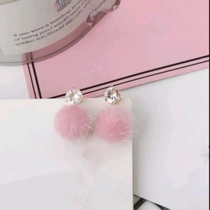 NEW! Pink Fur Pom Pom Rhinestone Earrings